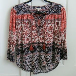 Lucky Brand Lace-Up Detail Blouse
